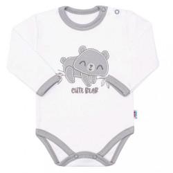Dojčenské bavlnené body s dlhým rukávom New Baby Cute Bear biela