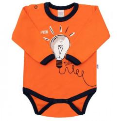 Dojčenské bavlnené body s dlhým rukávom New Baby Happy Bulbs oranžová