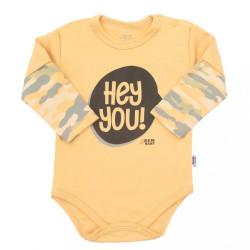 Dojčenské bavlnené body s dlhým rukávom New Baby With Love horčicové Žltá
