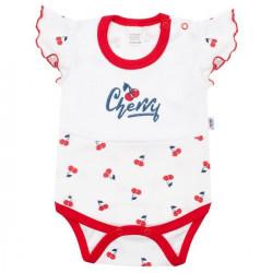 Dojčenské bavlnené body s krátkym rukávom New Baby Cherry Červená
