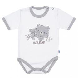 Dojčenské bavlnené body s krátkym rukávom New Baby Cute Bear biela