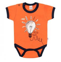 Dojčenské bavlnené body s krátkym rukávom New Baby Happy Bulbs oranžová