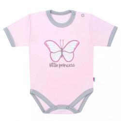 Dojčenské bavlnené body s krátkym rukávom New Baby Little Princess ružová