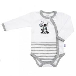 Dojčenské bavlnené celorozopínacie body New Baby Zebra exclusive biela