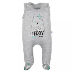 Dojčenské bavlnené dupačky New Baby Wild Teddy sivá