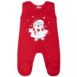 Dojčenské bavlnené dupačky New Baby Winter Penguin Červená