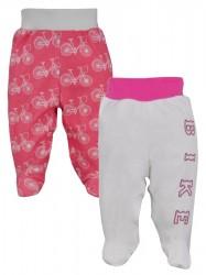 Dojčenské bavlnené polodupačky Koala BIKE 2 ks v balení ružovo-biele