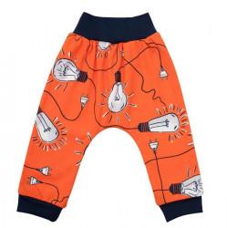 Dojčenské bavlnené tepláčky New Baby Happy Bulbs oranžová