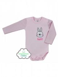 Dojčenské BIO body s dlhým rukávom Koala Bunny ružové