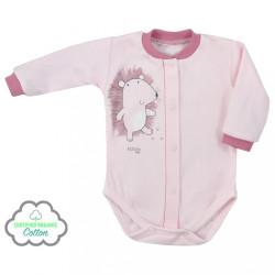 Dojčenské body celorozopínacie z organickej bavlny Koala Lesný Priateľ ružové