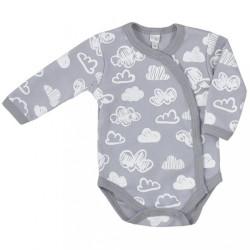 Dojčenské body s bočným zapínaním Koala Clouds biele obláčiky sivá