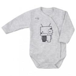 Dojčenské body s bočným zapínaním Koala Robot sivé
