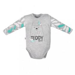 Dojčenské body s bočným zapínaním New Baby Wild Teddy sivá