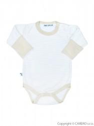 Dojčenské body s dlhým rukávom Baby Service pruhované béžová