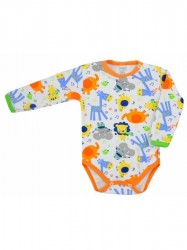 Dojčenské body s dlhým rukávom Bobas Fashion Zoo oranžové