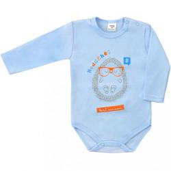 Dojčenské body s dlhým rukávom Hedgehog  Amma modré