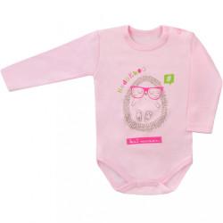 Dojčenské body s dlhým rukávom Hedgehog  Amma ružové