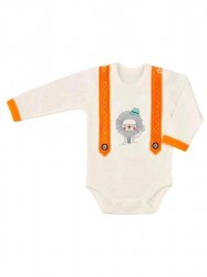 Dojčenské body s dlhým rukávom Koala Alex béžovo-oranžové