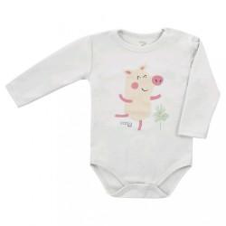 Dojčenské body s dlhým rukávom Koala Farm béžové