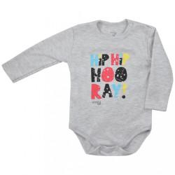 Dojčenské body s dlhým rukávom Koala Hip-Hip sivé