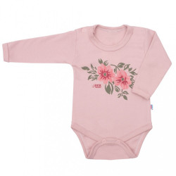 Dojčenské body s dlhým rukávom New Baby Flowers ružové
