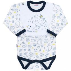 Dojčenské body s dlhým rukávom New Baby Hedgehog modré