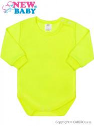 Dojčenské body s dlhým rukávom New Baby neónové zelená
