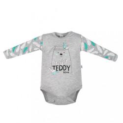 Dojčenské body s dlhým rukávom New Baby Wild Teddy sivá