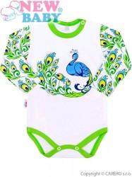 Dojčenské body s dlhým rukávom New Baby z Luxusnej kolekcie Páv biela