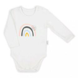 Dojčenské body s dlhým rukávom  Nicol Rainbow smotanová