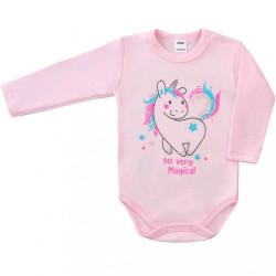 Dojčenské body s dlhým rukávom Unicorn Amma béžové ružová