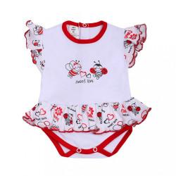 Dojčenské body s krátkym rukávom a volánikom New Baby Lienka biela
