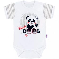 Dojčenské body s krátkym rukávom New Baby Panda sivá