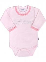 Dojčenské bodys dlhým rukávom New Baby Angel ružové