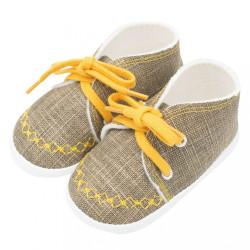 Dojčenské capačky tenisky New Baby jeans mustard 0-3 m Žltá