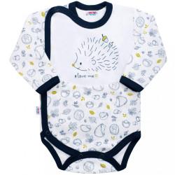 Dojčenské celorozopínacie body New Baby Hedgehog modré