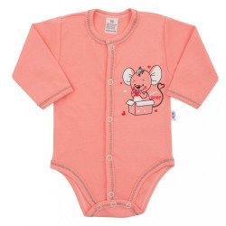 Dojčenské celorozopínacie body New Baby Mouse lososové ružová