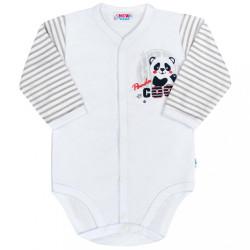 Dojčenské celorozopínacie body s dlhým rukávom New Baby Panda sivá