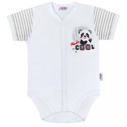 Dojčenské celorozopínacie body s krátkym rukávom New Baby Panda sivá
