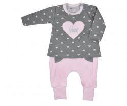 Dojčenské dievčenské tepláčky a mikinka Koala Jessica sivo-ružová