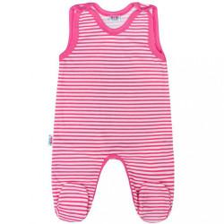 Dojčenské dupačky New Baby Classic II s ružovými pruhmi modrá