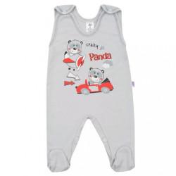 Dojčenské dupačky New Baby Crazy Panda sivá