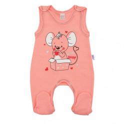 Dojčenské dupačky New Baby Mouse lososové ružová