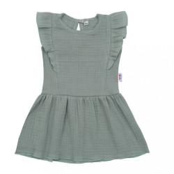Dojčenské mušelínové šaty New Baby Summer Nature Collection mätové zelená