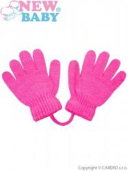 Dojčenské rukavičky New Baby tmavo ružové