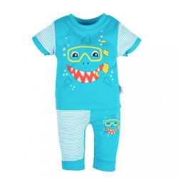 Dojčenské tričko s krátkym rukávom a tepláčky New Baby Shark tyrkysová