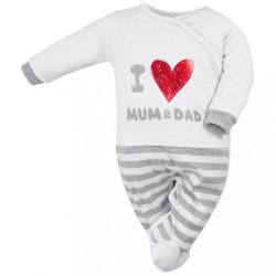 Dojčenský bavlnený overal Koala Mum and Dad sivá