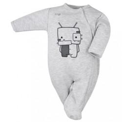 Dojčenský bavlnený overal Koala Robot sivý
