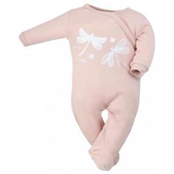 Dojčenský bavlnený overal Koala Vážka vintage ružový