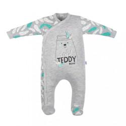 Dojčenský bavlnený overal New Baby Wild Teddy sivá